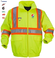 New High Visibility Bomber Jacket with Orange Contrasting 3M Reflective Material - Pepsi