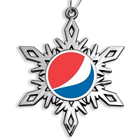 Die Cast Holiday Ornament - High Gloss Nickel Snowflake Shape - Pepsi