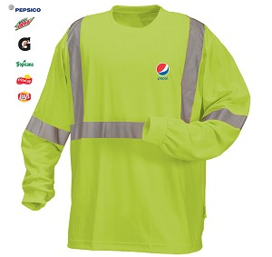High Visibility 100% polyester Wicking Long Sleeve T-shirt - Pepsi