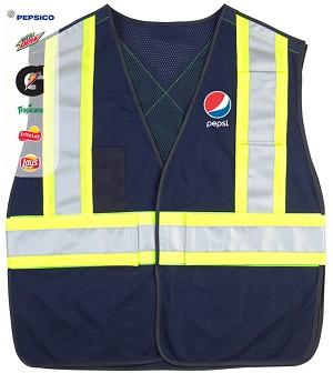 5 Point Tearaway Mesh Vest With High Visibility Contrast Reflective Material - Pepsi