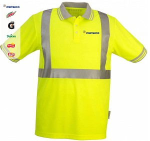 High Visibility 100% polyester Wicking Polo Shirt - Yellow