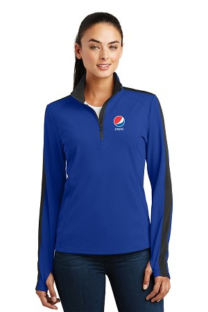 Ladies' Sport-Wick® Textured Colorblock 1/4-Zip Pullover - Pepsi