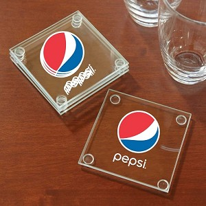 Economy Glass Coaster Set - Pepsi