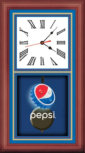 Pendulum Clock - Wood & Brass - Pepsi  Bottle Cap
