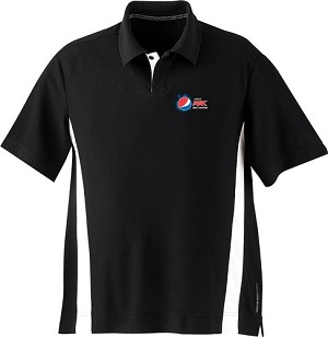 Men's Polyester Pique Polo With Stripe - Pepsi-Max